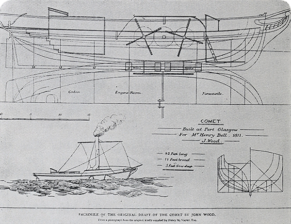 Facsimile of the plans and lines of the paddle steamer Comet by John Wood.
