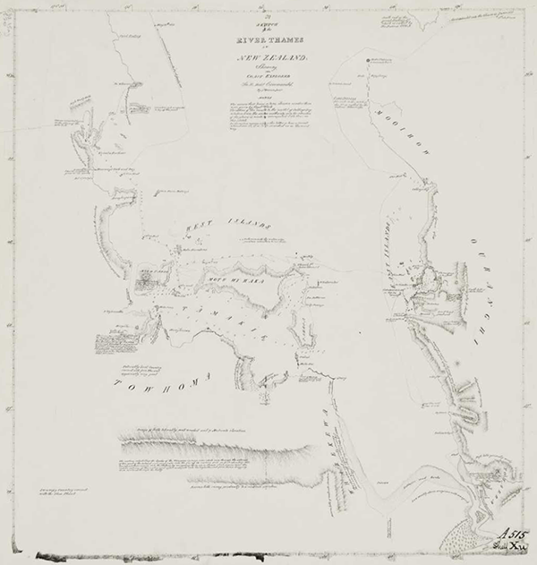 James Downie, 1819–1822: A sketch of the River Thames in New Zealand