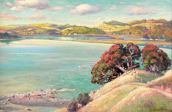 """The Pohutukawa Tree, Dairy Bay, Mahurangi Heads"", Samuel John Lamorna Birch, 1937"