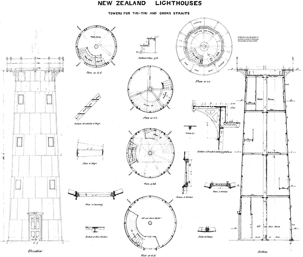 Drawings of tower for Tiritiri Matangi Lighthouse, and for that which subsequently became the Point Egmont Lighthouse