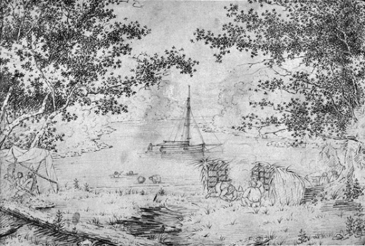 From sketch by Henry Williams, Leigh Harbour campsite