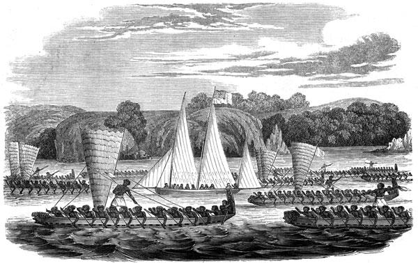 Gilbert Maire-built schooner-yawl-rigged cutter Karere, in company of Ngāpuhi waka taua