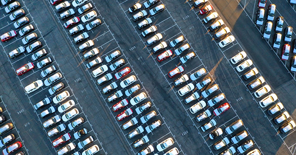 Imported cars parked at Port of Los Angeles