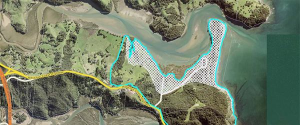 Wenderholm Regional Park showing land lost from 1 metre of sea-level rise